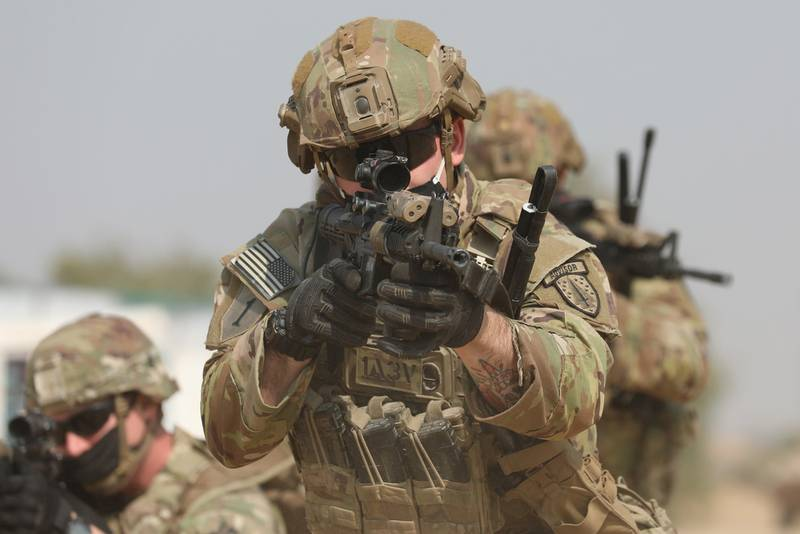 Combined squads of Indian and U.S. infantrymen practice small-unit tactics Feb. 9, 2021, during bilateral Indo-U.S. Exercise Yudh Abhyas at Mahajan Field Firing Range in Rajasthan, India.