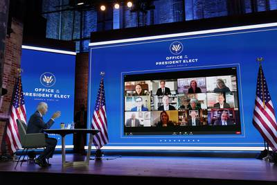 President-elect Joe Biden attends a national security briefing at The Queen theater, Tuesday, Nov. 17, 2020, in Wilmington, Del.