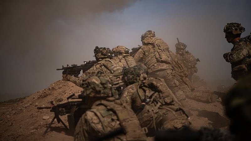U.S. Army paratroopers move up on a berm to provide security for the assaulting element on July 29, 2020, during a company live fire exercise as part of the 173rd Brigade Field Training Exercise in Grafenwoehr Training Area, Germany from July 17 to Aug. 5, 2020.