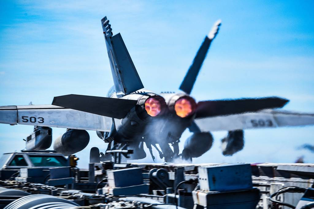An E/A-18G Growler launches from the flight deck of the aircraft carrier USS Ronald Reagan (CVN 76) on Oct. 23, 2020, in the Philippine Sea.