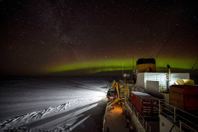 The Coast Guard Cutter Polar Star (WAGB 10) transits south in the Bering Strait early Jan. 19, 2021.